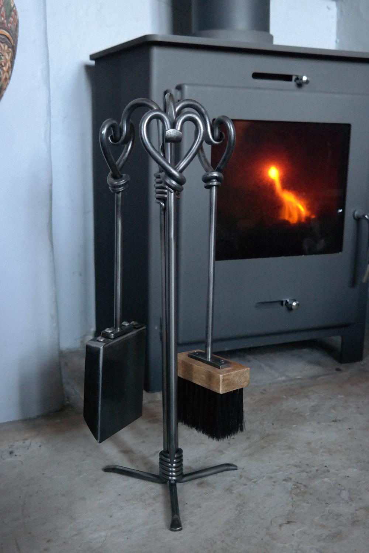 Hand Forged Heart Companion Set 16 Fire Tools